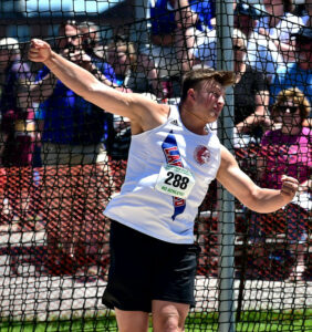 Athlete throwing a discus