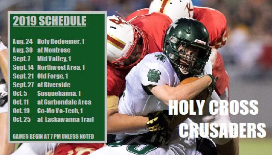 Football player being tackled plus a schedule of games.