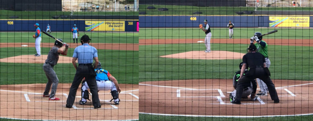 Showing the difference in RailRiders pitcher Jonathan Loaisiga's mechanics