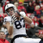 Penn State tight end catches a pass