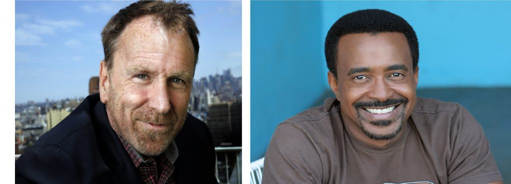 Comedians Colin Quinn and Tim Meadows smile in side-by-side portraits