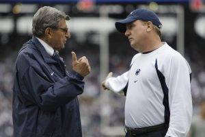 Tom Bradley talks to Joe Paterno